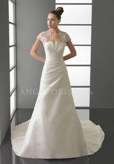 A line Taffeta Strapless Floor Length Natural Waist Sleeveless Wedding Dress With Ruching
