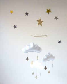 white cloud mobile w/gold star