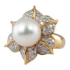Pave Diamond and Pearl Ring 1 Pearl And Diamond Ring, Pearl Ring, Pearl Jewelry, Jewelry Box, Jewelry Accessories, Fine Jewelry, Jewelry Design, Pearl Stud Earrings, Cultured Pearls
