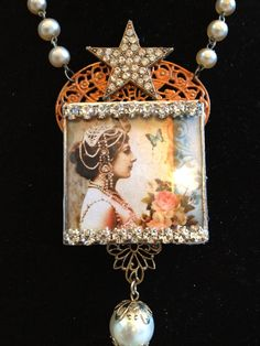 beautiful necklace assemblage mixed media jewelry by TiersofBliss, $65.00