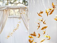 Paper Crane Mockingjays    Gold origami paper cranes made to resemble tiny mockingjays decorate the ceremony backdrop for this Hunger Games wedding shoot.