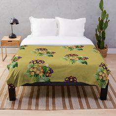 'Pretty flowers' Throw Blanket by Pansies, 2 Colours, Pretty Flowers, Comforters, Blanket, Purple, Interior, Printed, Stuff To Buy