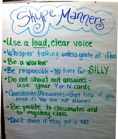 Manners for playing Mystery Skype: play 20 questions with classes around the U.S. To guess their location. Really helps geography skills! Technology Management, Teaching Technology, Technology Integration, Educational Technology, Social Studies Activities, Teaching Social Studies, Teaching Tools, Teaching Ideas, Mystery Skype