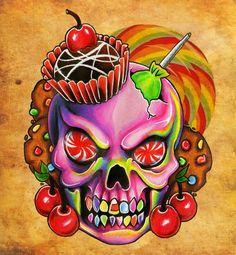 Diamond Painting Candy Skeleton Paint with Diamonds Art Crystal Craft Decor Candy Skulls, Sugar Skulls, Sugar Skull Artwork, Sugar Skull Painting, Body Painting, Totenkopf Tattoos, Sugar Skull Tattoos, Desenho Tattoo, Arte Horror