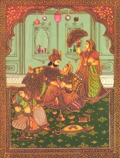 The Mughal Harem (Reprint on Paper - Unframed) Mughal Miniature Paintings, Mughal Paintings, Indian Paintings, Islamic Art Pattern, Pattern Art, Indian Illustration, Exotic Art, Mughal Empire, Historical Art