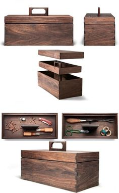 Decorative Boxes : Handmade tool box hewn from Nicaraguan walnut. Interior tray for screws, nails and storage of other small items. Large lower compartment for hammers and screwdrivers. Measures 14 inches long x 6 ½ inches deep x 6 inches high. Wood Tool Box, Wooden Tool Boxes, Wood Tools, Tool Box Diy, Diy Holz, Tool Storage, Small Storage, Diy Storage, Wood Design