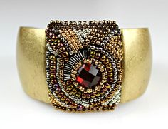Antique Gold Beaded Cuff - Antique Look Embroidered Bracelet with Gold and Red