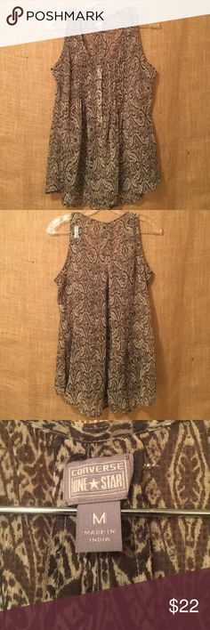 NWOT Flowy Sheer Olive & Cream Print Top New Without Tags Flowy Sheer Olive & Cream Tank Top. Excellent, never worn condition - no rips, stains or pilling. From a smoke & pet free home! Converse Tops