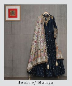 House of Matsya ~ Gota-patti Anarkali with Kantha Dupatta