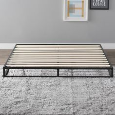 This sturdy platform mattress foundation is designed for strength and style. Perfect for higher profile mattresses or those preferring a modern style. The extra strength steel framed mattress foundation by Latitude Run features wooden slats that provide strong support for your memory foam, latex, or spring mattress. Easy to assemble and arrives in a narrow box to make moving through hallways and upstairs easier.