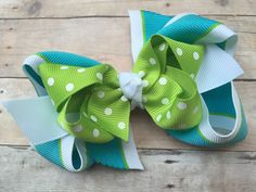 Turquoise apple green & white double boutique by BrownEyedBowtique