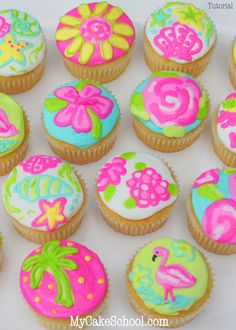 Bright https://drive.google.com/file/d/0B52W3EioKhczQk1Da2hVaU9WUGs/view?usp=docslist_api and Cheerful Lilly Pulitzer Inspired Cupcakes! Free Tutorial by MyCakeSchool.com. Online Cake Decorating Tutorials, Videos, and Recipes!