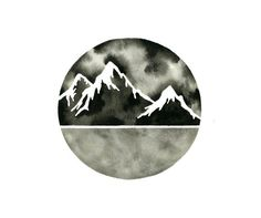 ▲▲▲ ORIGINAL WATERCOLOR . titled: MOUNTAIN HORIZON ▲▲▲ An interesting, minimal painting of a mountain landscape. This piece is done with deep,