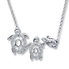 $25.00. Turtle Family Necklace Diamond Accents Sterling Silver