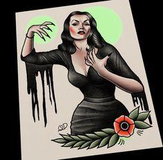 Vampira Tattoo Flash by ParlorTattooPrints on Etsy