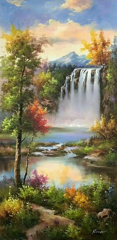 39 Ideas for fantasy landscape art simple Cool Landscapes, Beautiful Landscapes, Beautiful Paintings Of Nature, Nature Paintings, Landscape Paintings, Nature Oil Painting, Pinturas Bob Ross, Simple Oil Painting, Painting Abstract