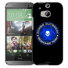 HTC One M8 Zombie OutBreak Response Team Blue on Black Slim Case