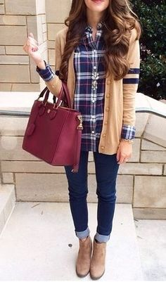 Love the plaid, sweater and the purse