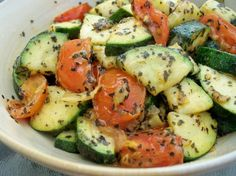 Sauteed Zucchini With Cherry Tomatoes, Garlic and Basil from Food.com: This is a quick, easy and delicious, low-carb side dish.