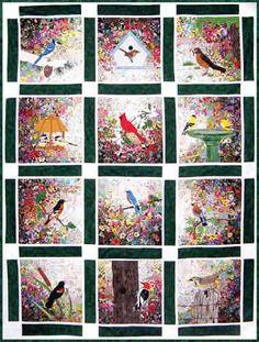 Free Bird Quilt Patterns   Bird Garden Watercolor Quilt Kit at Everything Quilts