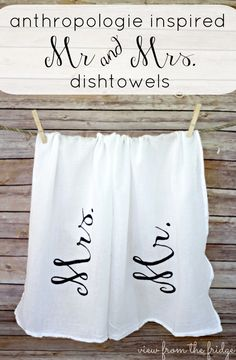 Anthropologie Inspired Dish Towels are a inexpensive DIY gift idea for a newlywed couple! | My Crafty Spot
