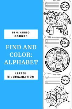 """Practice letter discrimination, beginning sounds, and handwriting with these """"Find and Color Alphabet"""" activities. There are 2 pages per letter. Students will identify the letter/sound they are searching for and color the matching spaces. Reading Resources, School Resources, Alphabet Activities, Literacy Activities, Beginning Sounds, Alphabet Worksheets, Letter Recognition, Letter Sounds, Word Families"""