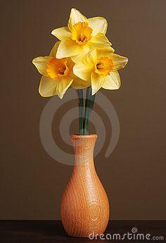 Daffodils In Wooden Vase Design