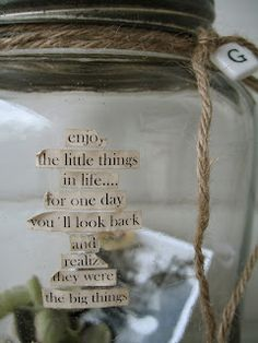 words on glass jars and string...