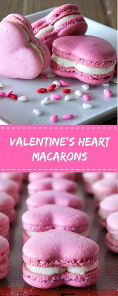Valentine's Heart Macarons Delicious My Food Baking Recipes, Cookie Recipes, Dessert Recipes, Bite Size Desserts, Easy Desserts, Yummy Treats, Sweet Treats, Yummy Food, Macaron Cookies