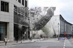 The collapsing front of Nos. 23 & 25 Queen Victoria Street, caused by the German bombing raid on the City of London on the night of May 1941 - the most severe attack London had sustained throughout the Blitz. Old London, London City, Vintage London, Augmented Reality Iphone, Interaktives Design, Graphic Design, London Museums, London Landmarks, London History
