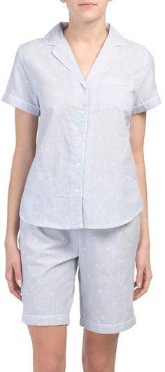 Sizes S//4XL Mens Woven Pajama V-Neck Sleepwear Short Sleeve Shorts and Top Set