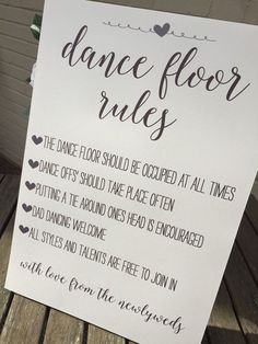 Vintage/Rustic/Shabby Chic A3 'Dance Floor Rules' sign for weddings, parties, birthdays etc- ivory or brown, backed or unbacked