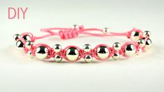 Beaded bracelet in shamballa style. This is easy to make and looks good, useful for kids and beginners. You only need to know Square knot (Reef knot). How to...