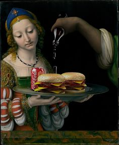 With The Burger Friday, the artist Gabriel Nardelli Araujo (previously featured) offers a very offbeat spin-off to his excellent series The Canvas Project. History Of Wine, Art History, History Education, Photoshop, Classical Art Memes, Art Jokes, Classic Paintings, Arte Pop, Funny Art