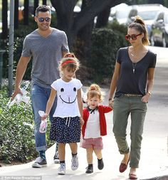 Happy family: Jessica Alba and Cash Warren spent a day at the park with their daughters in Beverly Hills on Saturday