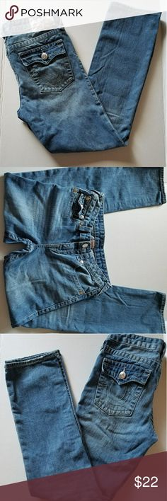 True Religion girls jeans Good condition overall just some fraying on the hems.?  Girls size 14? Inseam 27 inches? Rise 9 inches? Back rise 11 inches? Height 37 inches? Leg opening 6 1/2 inches? Waist band 13 inches?  Pictures available for better detail.? Delivered from a smoke and pet free home.? We do our best to describe products. Feel free to message for any questions. True Religion Jeans Straight Leg