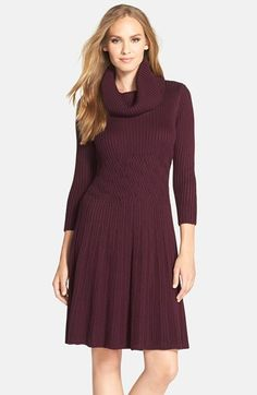 4257019b64e Calvin Klein Cowl-Neck Fit   Flare Sweater Dress - dress for pear ...