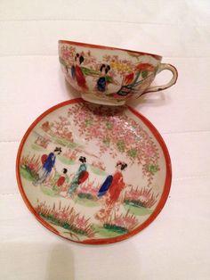 Antique Vintage Japanese Kutani Geisha Porcelain Hand Painted Teacup Cup  Saucer