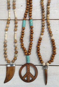 sautoir boho chic collier style mala perles bois par Bohemiaspirit