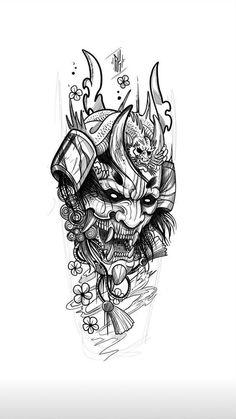 Japan Tattoo Design, Tattoo Design Drawings, Tattoo Sleeve Designs, Sleeve Tattoos, Tattoo Sketches, Japanese Dragon Tattoo Meaning, Japanese Demon Tattoo, Japanese Tattoo Designs, Japanese Tattoos