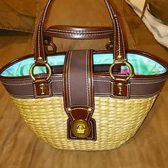 Coach wicker handbag.. Really nice and in Good condition has some scratches in the bottom... Coach Bags Shoulder Bags