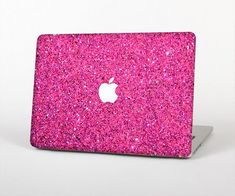 The Pink Sparkly Glitter Ultra Metallic Skin for the Apple MacBook Air - Pro or Pro with Retina Display (Choose Version) Macbook Air 11, Macbook Case, Macbook Pro 15, Apple Macbook Pro, Pink Sparkly, Purple Glitter, Metallic Pink, Shops, Apple Logo
