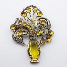 Vintage-EISENBERG-Silver-Vermeil-Flower-in-vase-Brooch-C1945-8565
