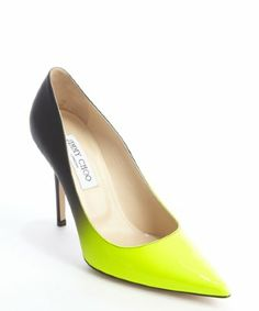 Jimmy Choo: black and neon yellow patent leather ombre fade pumps