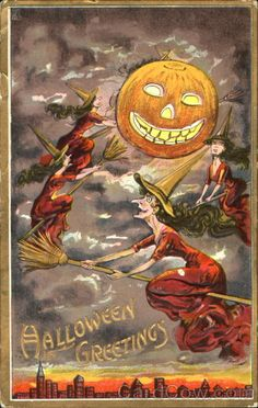 Halloween Greetings Witches Postmark/Cancel:1911 Oct-30