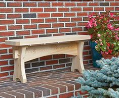 Wooden Trestle Bench - Chances are you have the perfect spot for a comfortable, cozy bench that blends in delightfully in your outdoor area. It also makes a great gift! Handcrafted in durable Northern White Cedar, the bench ages naturally to a handsome silvery gray.