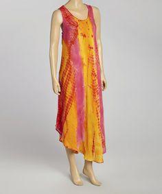 This Pink & Orange Tie-Dye Momo Maxi Dress - Women is perfect! #zulilyfinds