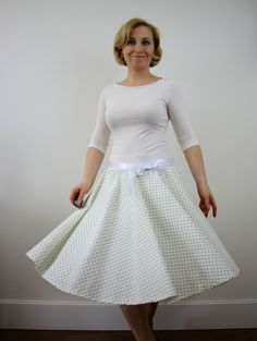 A personal favourite from my Etsy shop https://www.etsy.com/listing/517691165/white-green-polka-dots-full-circle-skirt