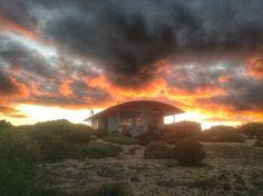 Amazing moody sunset over Yondah Beach House on the Yorke a Peninsula, South Australia
