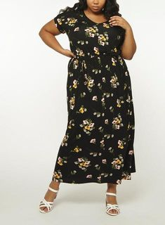 d885d274f05 Womens DP Curve Plus Size Black Daisy Jersey Maxi Dress- Multi Colour